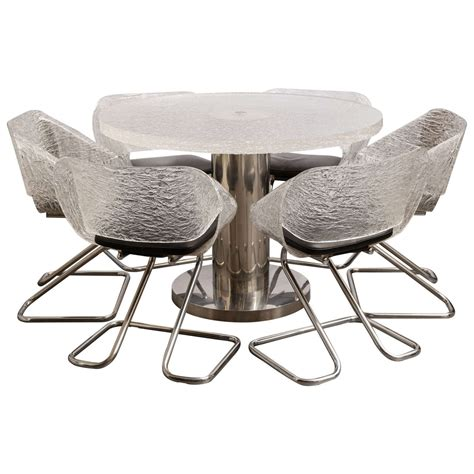 Italian Design Dining Table Italian Design Guzzini Plexiglas Dining Table And Six Chairs Modernism