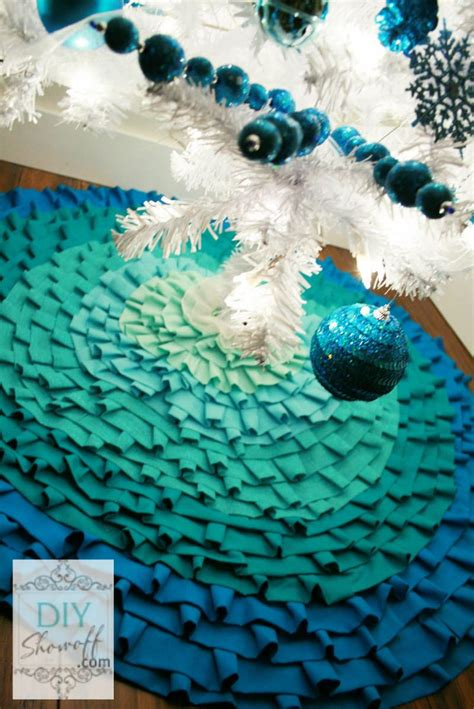 how to make a no sew ombre ruffled tree skirt