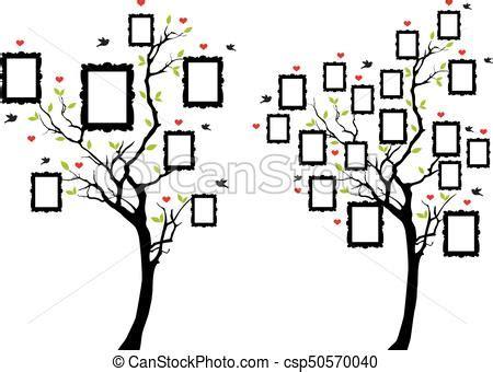 Family Tree With Photo Frames Vector Family Tree With Blank Picture Frames Vector Illustration Family Tree Template Empty Frames Photos Stock Vector 656586004
