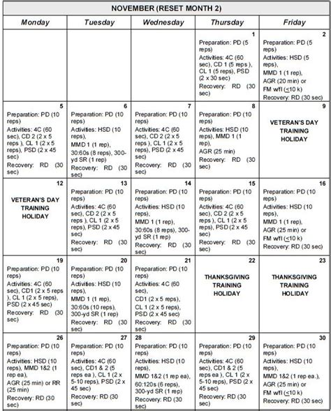 army pt calendar template sustaining phase prt schedules