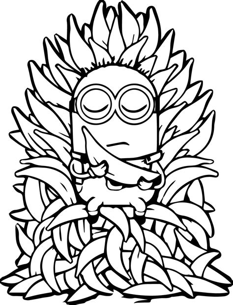 minions coloring pages banana minion throne banana meditation coloring page wecoloringpage