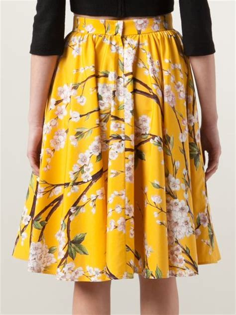yellow patterned skirt dolce gabbana floral print skirt in yellow yellow