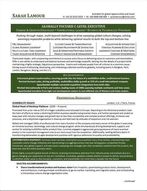 Resume Format Doc For Manager Level C Level Executive Resume Exle Distinctive Documents