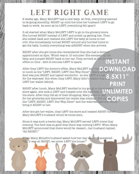 best left right game items printable left right baby shower woodland animal theme with white background print it baby