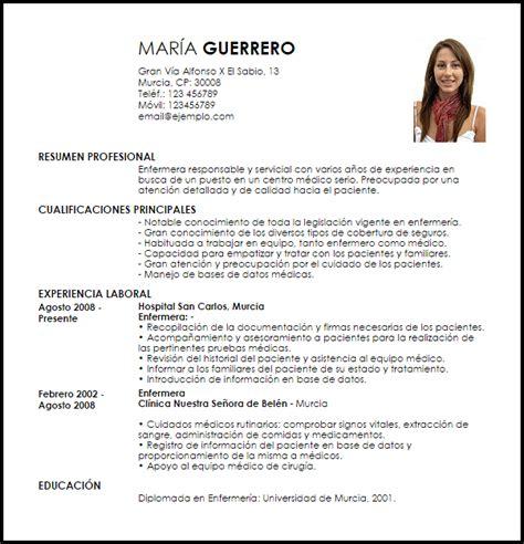 Modelos De Resume by Modelo Curriculum Vitae Enfermera Livecareer