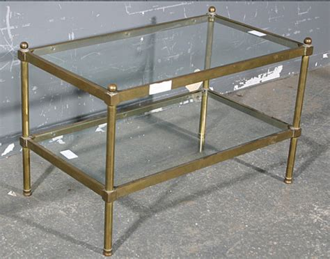 Bagues Tubular Brass Glass Coffee Table Size For