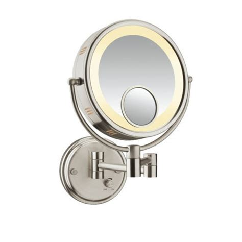 conair sided lighted wall mount mirror brushed nickel conair be6bx sided lighted 8x magnification fog