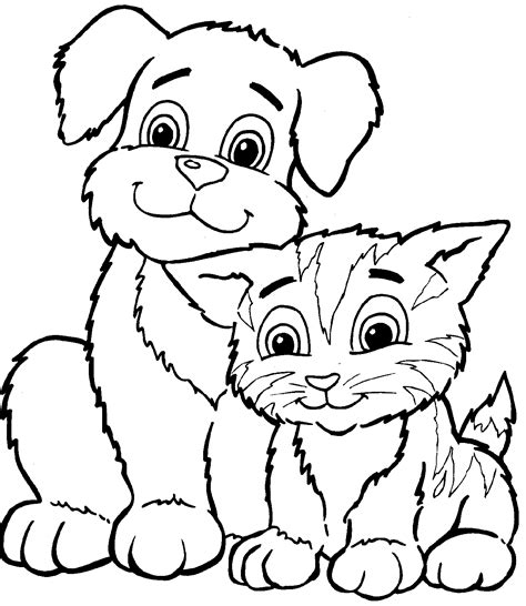 printable coloring pages kittens and puppies kitty world kitten pictures to colour