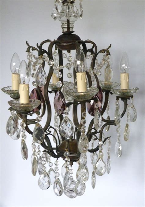 6 Arm Brass Cage With Lead And Aubergine Drops The Vintage Chandelier Company