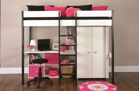 bunk beds with wardrobe bunk beds stompa uno wooden high sleeper with wardrobe