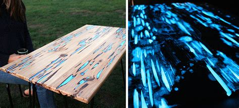 glow in the table a table i just finished the blue streaks glow in the