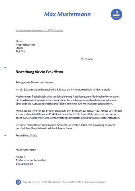 Praktikumsbewerbung Muster by Drucke Selbst Kostenlose Musterbewerbungen F 252 R Sekret 228 Rin