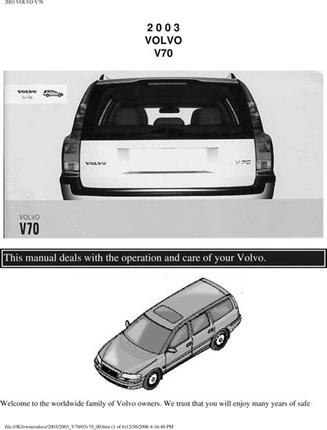 car manuals free online 2003 volvo xc70 on board diagnostic system 03 volvo v70 2003 owners manual