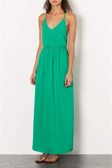 Mira Dress Dress Longdress Dress Terbaru Maxi Dress lyst topshop green beaded back maxi dress in green
