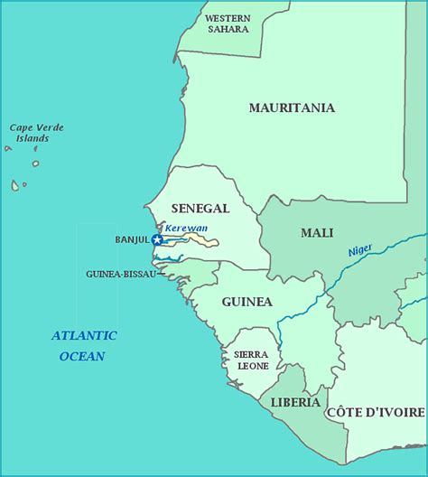 africa map gambia map of gambia and senegal