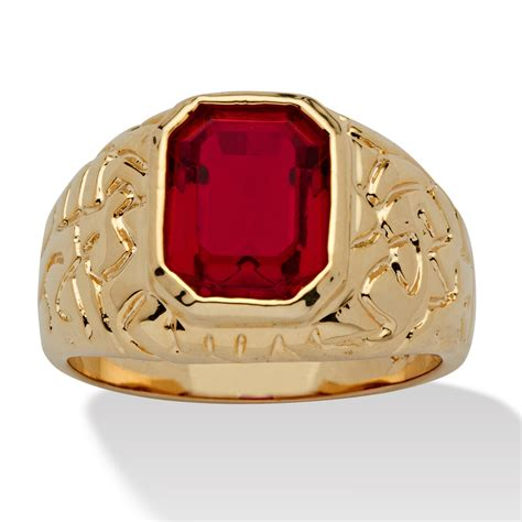 palmbeach jewelry s simulated ruby 14k yellow gold