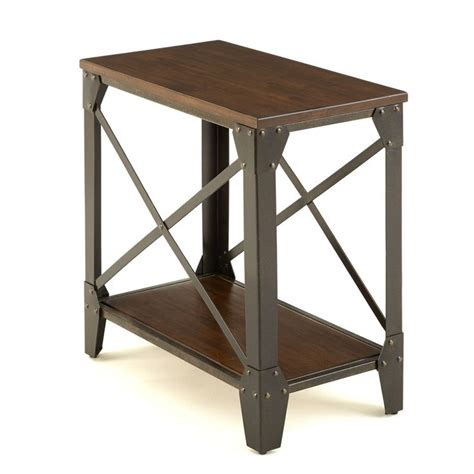 wood and iron sofa windham solid wood and iron rustic chairside table by