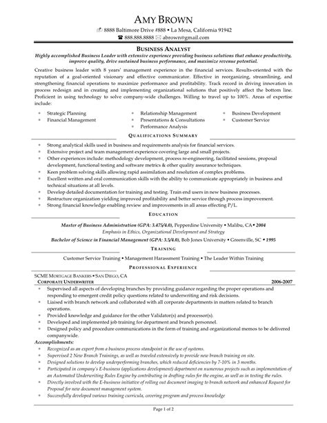 Business Analyst Resume Qualifications by The Best Business Analyst Resume Sle Recentresumes