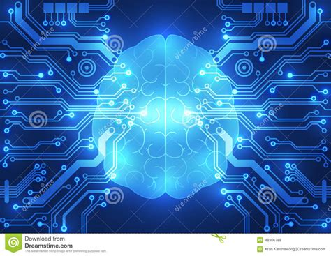 photo of digital abstract electric circuit digital brain technology concept