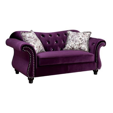 furniture of america 2 tufted sofa set in