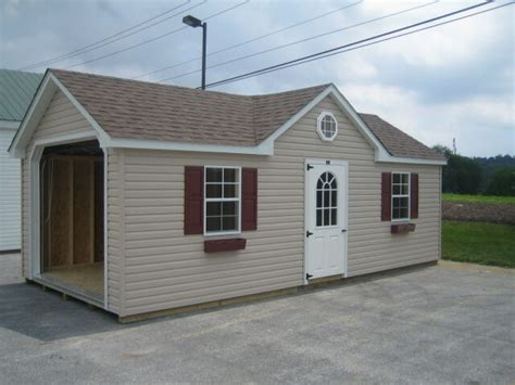amish built   frame garage storage shed vinyl