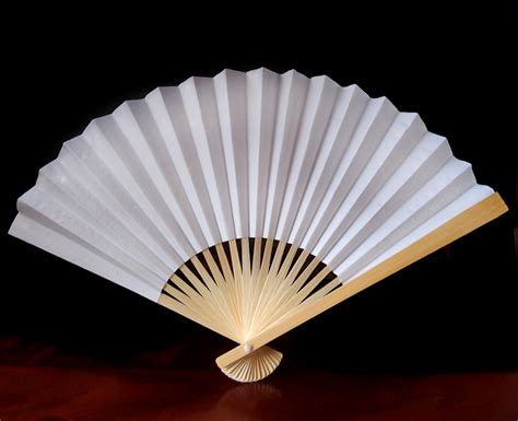 Paper Folding Fans - 9 quot white folding paper fan for weddings on