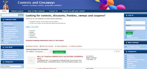 Canada Contests And Giveaways - 100 websites to submit and promote online contests upviral