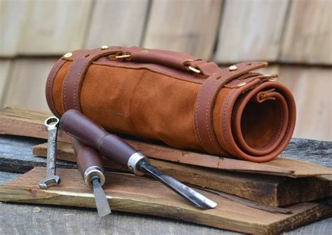 Handmade Woodworking Tools - made leather tool roll diy woodworking tools