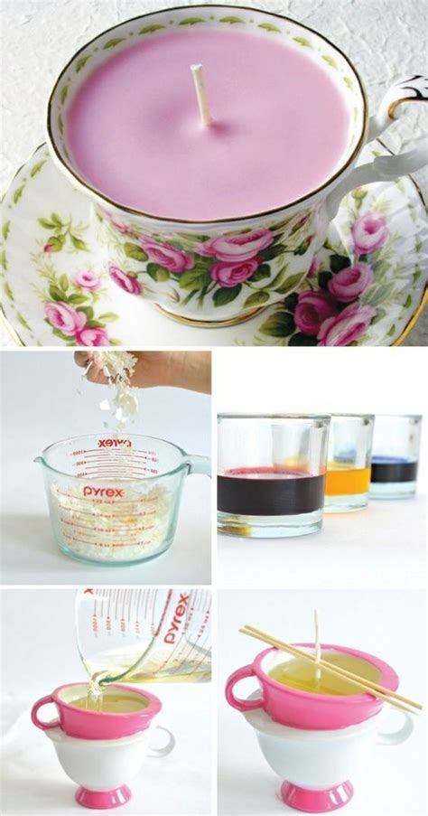 rosa kerzen kerzen selber machen rosa kerze in teetasse geschenke