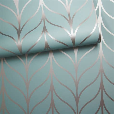 metallic blue wallpaper uk holden shimmering geo striped wallpaper art deco trellis
