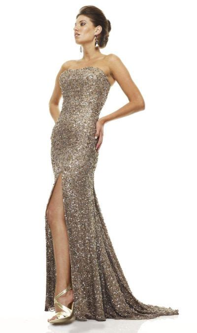 Mm Slkalla Dress scala 47544 sequin gown with high leg slit