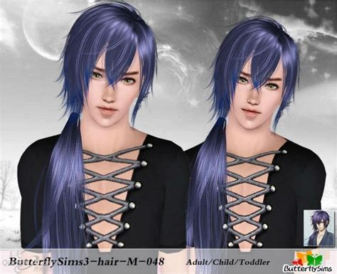 side spiky ponytail hair   butterfly sims  hairs
