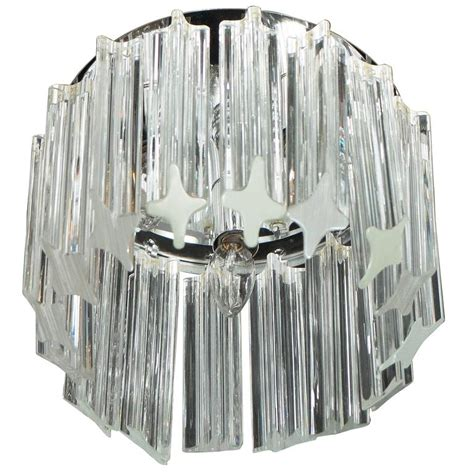 Mid Century Modern Triedre Crystal And Chrome Flush Mount L Plus Chandeliers