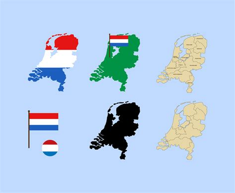 netherlands map and flag 2 d netherlands map and flag vector graphics