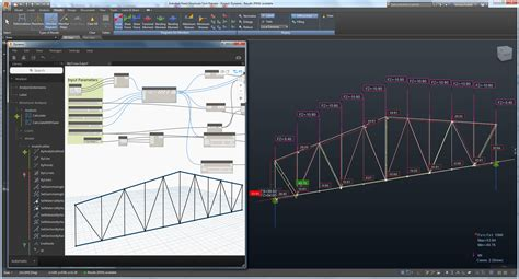 Autocad Free Online example of a parametric truss using structural analysis
