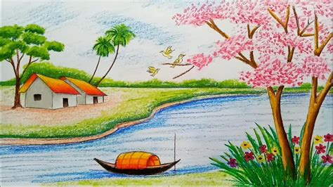 spring pictures to draw how to draw landscape scenery of spring season with oil