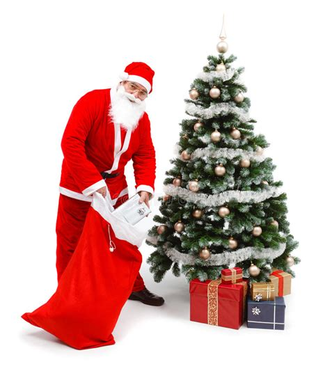 photo of santa claus and christmas tree santa claus putting gifts tree stock photo image of decorative take 16847546