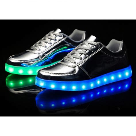 s low top silver led light up shoes for adults colour