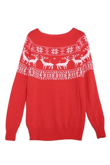 Red Ladies Pullover Crew Neck Reindeer Ugly Christmas