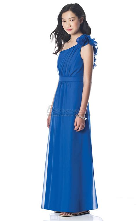 Dress Satin 002 blue chiffon one shoulder junior bridesmaid