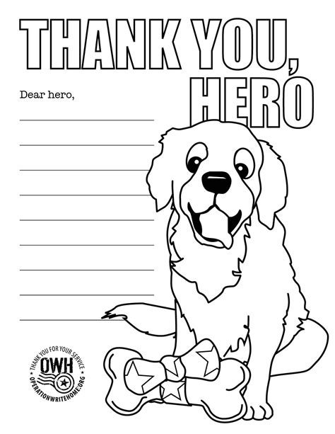 thank you for your service card template coloring pages operation write home