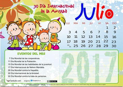 Calendario Julio 2017 Calendario De Julio 2017 Actiludis