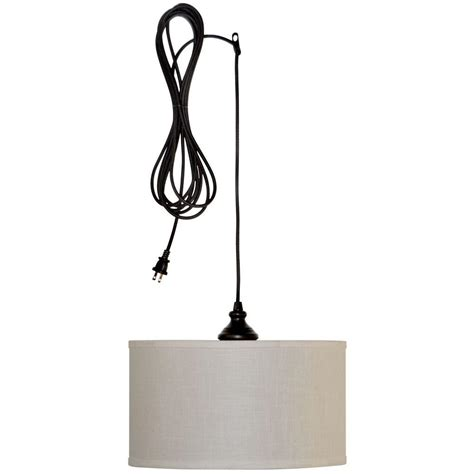 Swag Pendant Lights Hton Bay Carroll 1 Light Rubbed Bronze Swag Drum Pendant Es4763ob4 D The Home Depot