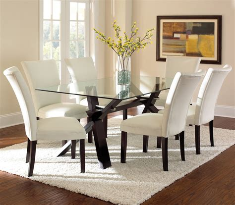 glass dining room furniture steve silver berkley 7 piece glass dining room set in