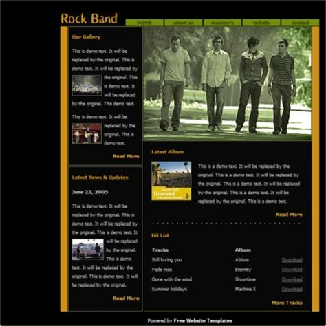 band templates rock band template free website templates in css html js