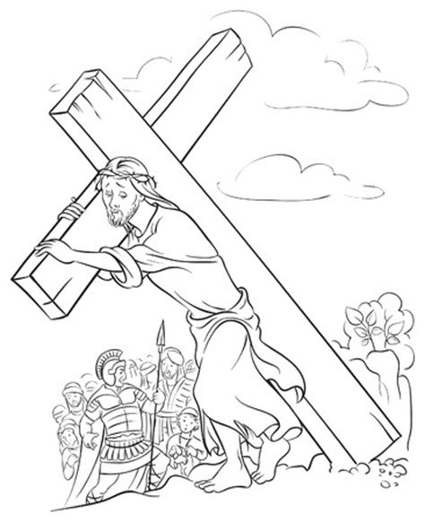coloring pages of jesus carrying the cross christian easter crafts sunday school easter crafts