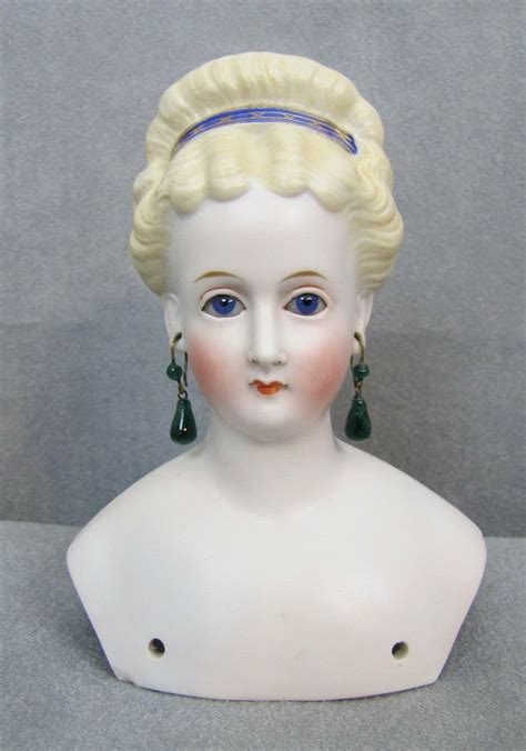 parian shoulder head doll parian doll shoulder glass pierced ears