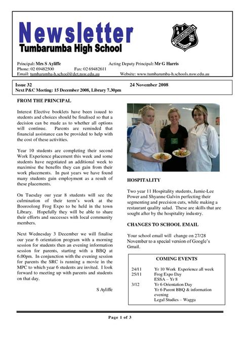 school newsletters templates image gallery newsletter templates for schools