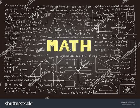 a level mathematics formulae black and white books mathematics formulas on chalkboard stock vector
