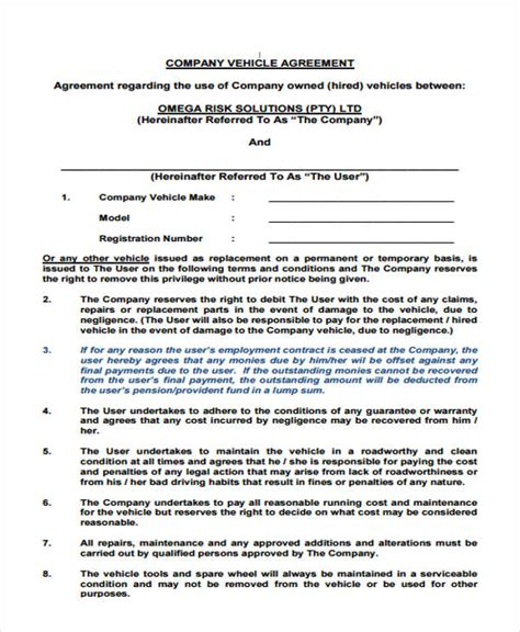 employee vehicle use agreement template loan agreement form template